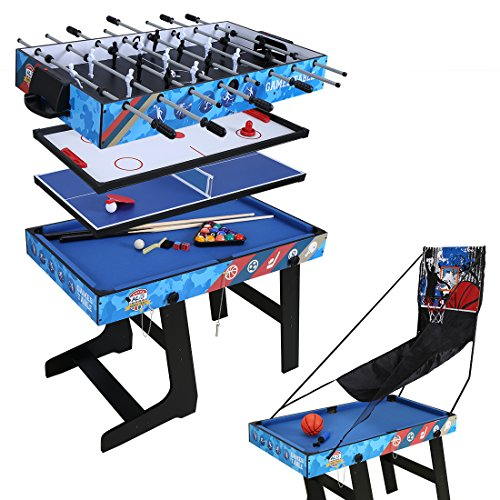 hj Table Multi Jeux 5 en 1 Pliante-Billard/Babyfoot/Hockey/Tennis de Table/Basketball 103.4 * 57.5 * 72cm Pliable