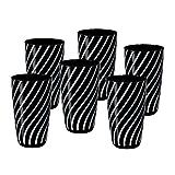 6 X Trinkglas Longdrinkglas Longdrinkbecher Wasserglas Night And Day Schwarz Weiß Glas 14 cm