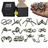Holzsammlung Metal Wire Puzzle Ring Brain Teaser Classical Intellectual Puzzles Game Magic Trick Toy Gift for Kids Students Adults Challenge - Black Box Pack IQ Test Disentanglement Set of 12 #19