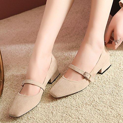 HWF Chaussures femme Femmes Chaussures Femme Printemps Mot Déduction Shallow Bouche Seule Chaussures Carré Tête Littérature Et Art Rétro Casual Chaussures ( Couleur : Noir , taille : 35 ) Apricot Color
