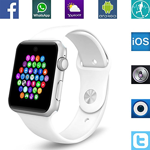 Banaus® BS19 Newest MTK2502 Smart Watch with Bluetooth 4.0 Support SIM Watch Phone for Android Samsung Galaxy S3/S4/S5/Note2/Note3/Note4 HTC Sony LG Xiaomi Huawei ZUK and iPhone 5/5C/5S/6/6S White