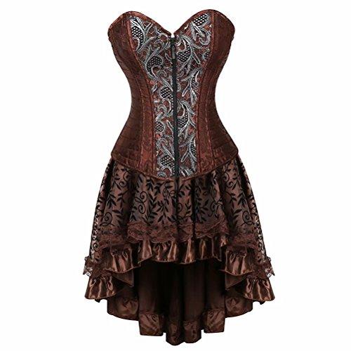 aizen Damen Steampunk Brokatmuster Corsage Korsett Kleid elegant Vintage Retro Gothic Übergrößen Korsage Stahlstäbchen Braun S