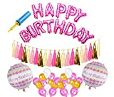 #4: AMFIN® Happy Birthday Foil Balloons with Matching Tassels / Happy birthday set / Birthday decoration items combo