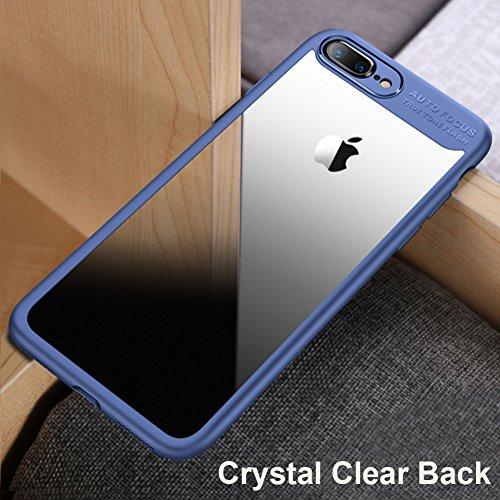Cover Apple iPhone 7 Plus (5.5), MSVII® Trasparente PC Posteriore Back Silicone Bumper Custodia Cover Case e Pellicola Protettiva Per Apple iPhone 7 Plus (5.5) - Nero JY40010 Blu