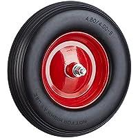 Relaxdays Achse, 4.80 4.00-8 Gummirad, pannensicher, 100kg Tragkraft Ersatzrad, schwarz-rot Schubkarrenrad Vollgummi