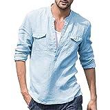 Firally T-Shirt Uomo Estate Moda Casual Baggy Cotone Lino Tasca Solido Manica Lunga retrò T Camicie Tops Camicetta con Taschino sul Petto(Medium,Blu)