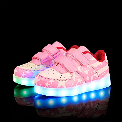 DoGeek Bambino Scarpe LED Luminosi Sneakers Scarpe con Le Luci Accendono Scarpe Bambino Sportive Rosa