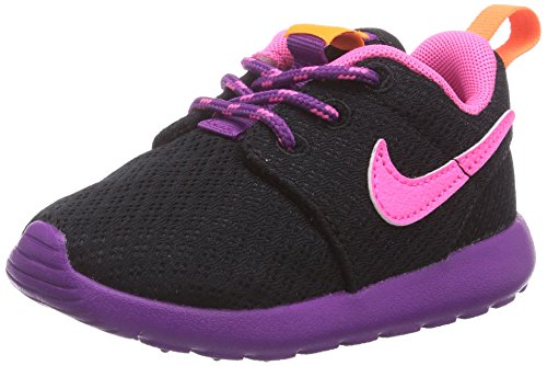 Nike - Roshe Run, Sneaker basse Bambina Nero (Schwarz (Black/Pink Powder-Bld Berry-Total Orange))