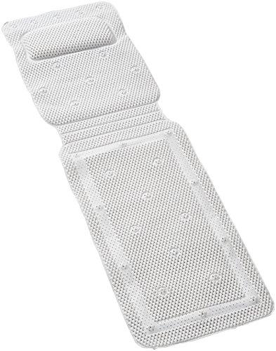 Ability Superstore - Weiche, rutschfeste Dusch- oder Badewannenmatte in weiß mit integriertem Kopfkissen