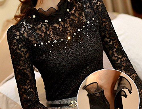 BININBOX Elegant Lace Damenbluse langarm Stehkragen mit Strass Häkelspitze Hemdbluse Langarmshirt Tuniken Oberteil Schwarz
