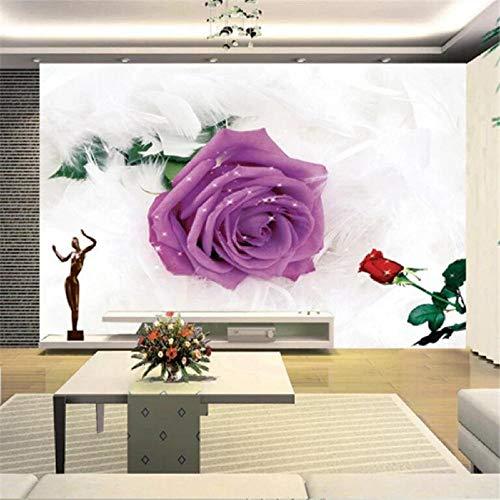 Benutzerdefinierte 3D-Wandbild Rosenfeder Blatt lila floral TV 3D Wandbild Tapeten Wohnkultur-350X250CM