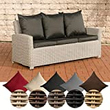 CLP Poly-Rattan 3er Sofa FISOLO aus Aluminium I Gartensofa für
