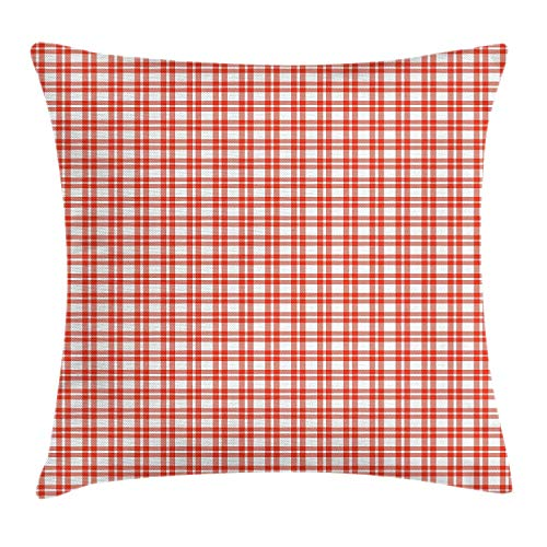 ERCGY Plaid Throw Pillow Cushion Cover, Colored and Checkered Country Picnic Pattern Repeating...