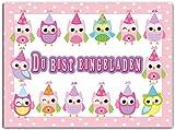 Kartenversand24 Eulen Einladungskarten Einladung Kindergeburtstag Mädchen Kinder Geburtstag Pink Rosa im Set 12er Girls Mädels Eule