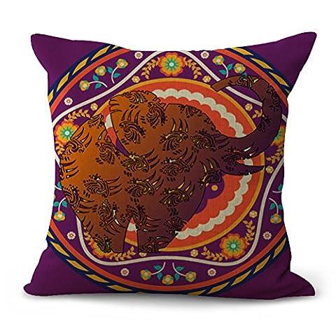 eazyhurry Lovely Animal bedruckt Baumwolle Leinen dekorativer Überwurf-Kissenbezug Dekorative Home Decor 45,7x 45,7cm, Brown Elephant 2, With Filler