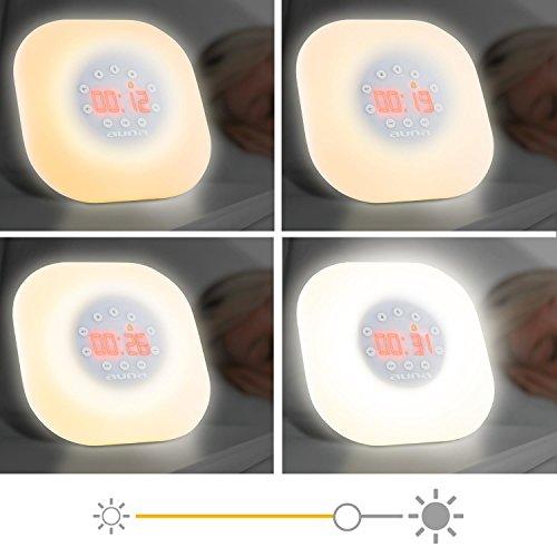 auna WL-60 Radiowecker Tageslichtlampe Lichtdusche (Wake-Up Light, LED-Uhrzeitanzeige, 4 Helligkeitsstufen, Sonnenaufgangssimulation, UKW-Radio, 2 Weckgeräusche) weiß - 6