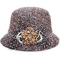 MEICHEN-Retro-colore del colorante in autunno e in inverno Plaid di lana Cappelli Cappello di moda donna cappelli per outdoor Sun/prom,arancione,57cm