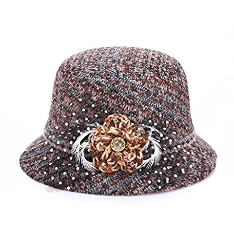MEICHEN-Retro-dye color in autumn and winter Plaid wool hats fashion Hat women hats for outdoor Sun/prom,Orange,57cm