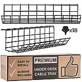 Korg Under Bordet för Kabelhantering - Kabelarrangör för Kabelhantering. Kabelgömma av Metall till Kontor och Hem. Perfekt Kabelränna för Justerbara Skrivbord (Svart Sladdbox - Set av 2x 43cm)