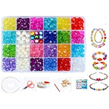 Vytung Children DIY Beads Set,Bracelet Bead Art & Jewellery-Making,Bead String Making Set,24 Different Types and Shapes Colorful Acrylic DIY Beads in a Box (color 1#)