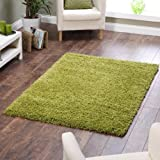 """Shaggy Rug Lime Green 963 Plain 5cm Thick Soft Pile 160cm x 230cm (5ft 3"""" x 7ft 7"""") Modern 100% Berclon Twist Fibre Non-Shed Polyproylene Heat Set - AVAILABLE IN 6 SIZES by Quality Linen and Towels"""