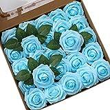Ksnrang Mousse Rose Artificielles Fleurs Fausse Roses Faux Bouquet pour DIY fête Maison Mariage Décoration (Bleu Clair, 25 pièces)...