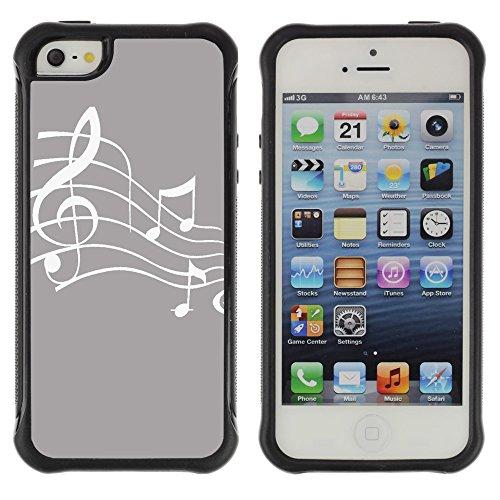 Graphic4You Musik Noten Muster Design Shockproof Anti-Rutsch Weichen Hülle Case Tasche Schutzhülle für Apple iPhone SE / 5 / 5S (Rot) Gris