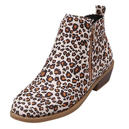 DressLksnf Botas Cortas para Mujer Otoño Invierno Nuevo de Gamuza Leopardo Estampado BotasdeMartín Punta Redonda Botines de Talón Grueso Moda de Cremallera Lateral Zapatillas de Casual