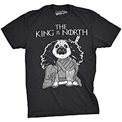 Crazy Dog TShirts - Mens King of North Funny Pug Face Tee Hilarious Dog Lover Shirts Novelty T shirt (Black) -XXL - Camiseta Divertidas