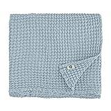 Linen & Cotton Premium-Qualität Waffel Tuch Saunatuch Strandtuch Handtücher Badetücher Duschtücher Gästehandtücher Ezra, 48% Leinen, 52% Baumwolle - 50 x 70cm (Hellblau/Türkis)