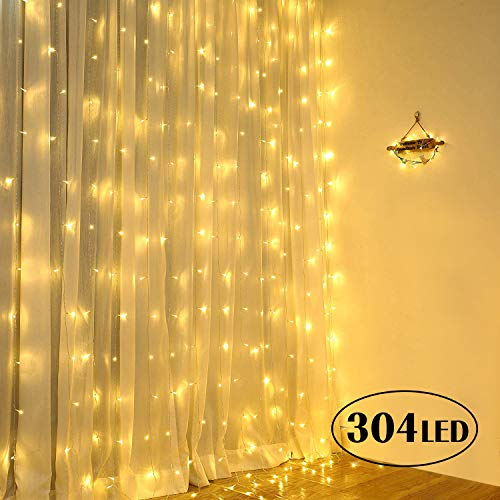 Qomolo Lichterkette 300 LEDs Lichterkette Vorhang 3x3m Lichterkette Innen Warmweiß 8 Lichteffekte Dekorationsleuchte Außen Beleuchtung von Garten, Weihnachten, Hochzeit, Party