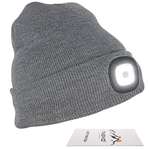 TAGVO USB Nachladbare LED Mütze-Kappe, Beleuchtung und blinkende Warnungs-Arten 8 LED, einfache Installation Schnellverwendbare Scheinwerfer-Mütze, Unisex-Winterwärmer-Strickkappe - Schwarz/Grau