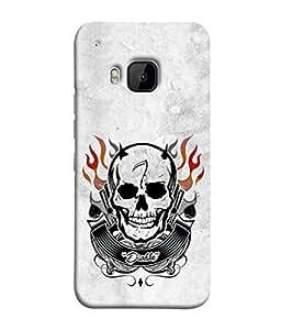 PrintVisa Designer Back Case Cover for HTC One M9 (firey head skull dusky background)