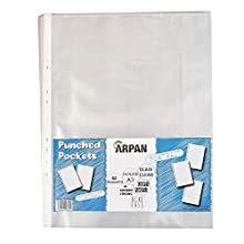 Arpan A3 Transparent Plastic Wallets Folders for Offices, Professionals, School Kids, Portrait Strong Plastic Poly Pockets Wallet Sleeves Clear Finish – (Pack of 52)