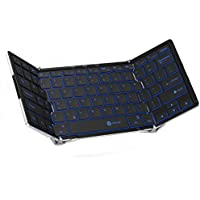 [Backlit Wireless Keyboard]iClever Foldable Bluetooth Keyboard with 3 Color Backlight for iOS iPad Pro, iPad Air, iPad Mini, Android, MacOS, Windows, Tablets, PC and Smartphone, US Layout