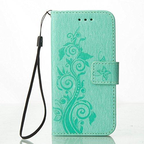 Custodia iPhone 7 Plus, [Cover Fiore di farfalla] iPhone 7 Plus Custodia, Cozy Hut ® Apple iPhone 7 Plus (5.5 Zoll) Cover Case Vintage Belle Elegante Ultra-Sottile Slim fit PU Silicone Anti Antigraffi verde