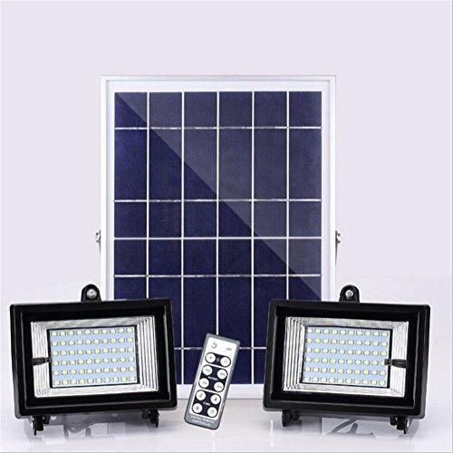 HAIYUANNAN Foco Solar LED Luz Doble Faros 60LED IP55 Lámpara de Pared...