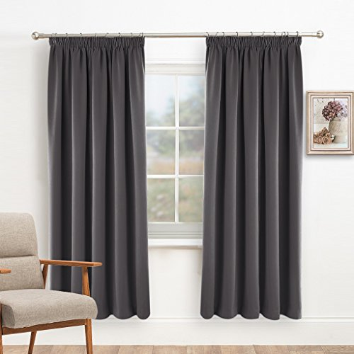 Blackout Pencil Pleat Window Curtains   PONY DANCE Ready Made Plain Thermal  Insulated Room Dark Curtain Panels Energy Saving Drape Blinds For Bedroom,  ...