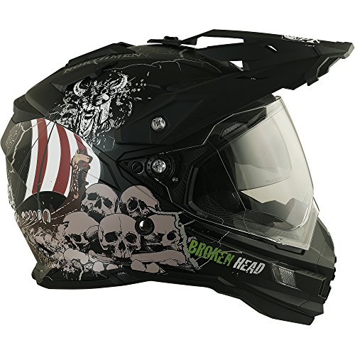 Enduro Helm mit Sonnenblende Broken Head Fullgas Viking matt schwarz - Cross Helm - MX Helm - Quad Helm (XL 61-62 cm) - 4