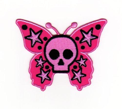 Aufnäher Bügelbild Aufbügler Iron on Patches Applikation Schmetterling Skull Totenkopf Tattoo