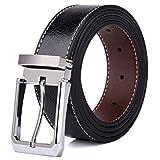 Tonly Monders Men's Belt Leather Reversible Black Brown, 1.25 Inch Wide, 28 30 32 34 36 38 Waist
