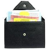 LOLUNA® Porte papier voiture en cuir, forme enveloppe, étui carte grise, permis conduire tout, plusieurs couleur homme et femme (Noir)