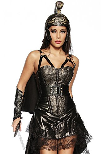 Damen Gladiatoren Outfit mit Kunstleder Corsage Umhang Helm und Armstulpen in schwarz gold XS