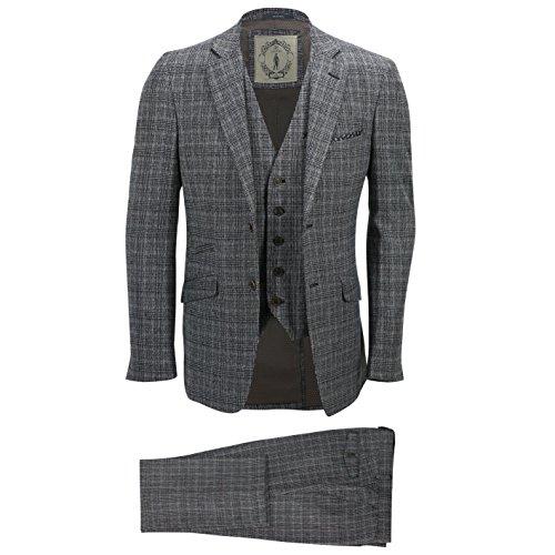 Herren-Anzug 3-teilig, Tweed, grau-kariert, Vintage-Stil, Fischgrätenmuster, abgestimmte Passform, Anzugsjacke für die Arbeit, grau (Drei Breasted Kostüm)