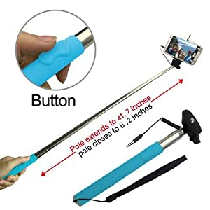 Looq System DG-L001 Third Generation Extendable Selfie Monopod for Android and iOS Smart Phones - Blue