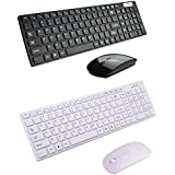 Generic White : Whisper-quiet 2.4G Ultra Slim Portable Wireless Keyboard And Mouse Combo Black/White For Desktop Windows 7/8/XP/NT/ME Vista