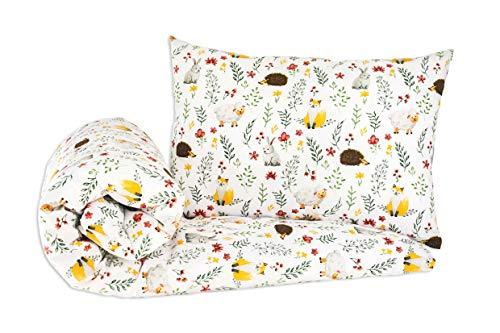 NEU! Kinderzimmer Babybett Bettwäsche Bettbezug und Kissenbezug Set 100 cm x 135 cm 100% Baumwolle Hergestellt in Europa (Igel)