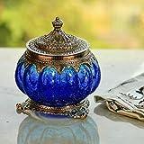 White Box Oxidised Metal Glass Sky Blue Bowl, Masala Bowl, Tealight Lamp, Candle Holder, Multi Purpose Kitchen Sugar Container Decorative Handicraft Gift Item