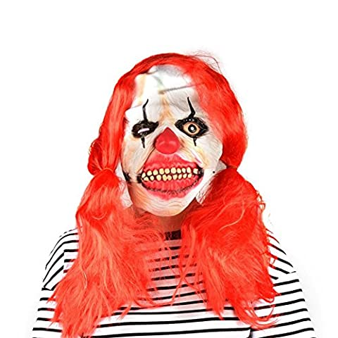 PILAAIDOU Halloween Horror mask Clown mask Toothy Zombie Ghost Mask Scary Emulsion Skin & Hair