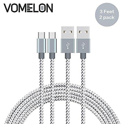 Micro USB Kabel, [3FT-2Pack] Nylon geflochten Verwicklung frei Micro USB Ladekabel für Android, Samsung, HTC, Nokia, Sony, Nexus, LG und weitere Smartphones-[Grau +